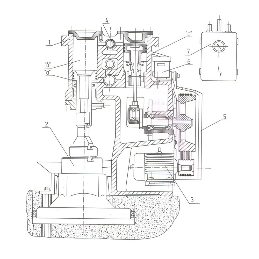 Расположение и обозначение составных частей оборудования